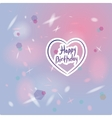 Happy birthday card heart pink and purple vector image