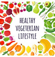 poster of colorful vegetables and fruits vector image