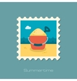 Sand Bucket and Shovel flat stamp vector image