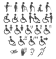 Set of disability people pictograms flat icons vector image