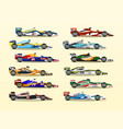 set of racing bolid a collection of sports cars vector image