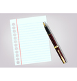 white sheet and a pen on a light background vector image