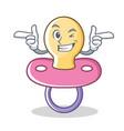 wink baby pacifier character cartoon vector image