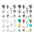 Low poly trees rocks grass icons set flat design vector image