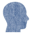 head profile fabric textured icon vector image