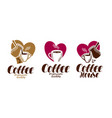 coffee coffeehouse label set cafe cafeteria vector image