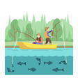 outdoor summer activities fishing sport vector image