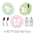 Icons on the theme of dental care for children vector image