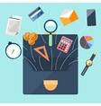 Briefcase with office accessories concept vector image
