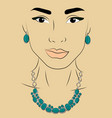 a girl in jewels silver necklace and earrings vector image