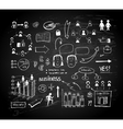 Chalk board doodle charts vector image