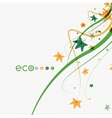 Green eco conceptual leaves on white design vector image