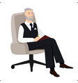 psychoanalyst sitting in chair and doing remarks vector image