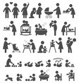 Set of family and baby pictograms flat icons vector image