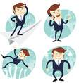 Set of office man Office man flying an looking to vector image