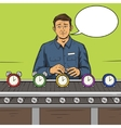 Man working on assembly line pop art style vector image