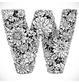 Doodles font from ornamental flowers - letter W vector image