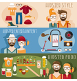 flat design mini banners with hipster theme vector image