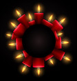 round frame with red luminous candles and place vector image