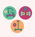 set creative modern icons urban electric transport vector image