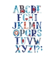 Watercolor alphabet in marine style with vector image
