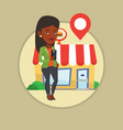 woman looking for restaurant in her smartphone vector image