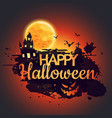 happy halloween poster with creepy castle vector image