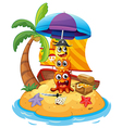 Three playful pirate monsters in the island vector image vector image