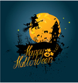 Halloween night sillouette of witch and cat flying vector image vector image