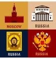 Cultural historic and religion russial flat icons vector image vector image