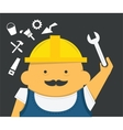 Engineer with instrument in construction helmet vector image