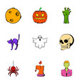 pumpkin lantern icons set cartoon style vector image