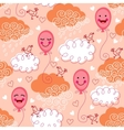 Seamless pattern with balloons and clouds vector image