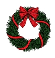 Christmas wreath hand drawn vector image