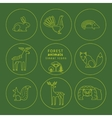 linear icons of forest animals vector image