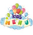 kids menu vector image vector image