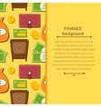 Finance background with objects in flat style and vector image