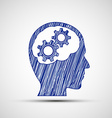 Head with gears inside vector image vector image