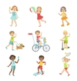 Kids Outdoor Activities Set vector image