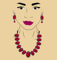 a girl in jewels necklace and earrings with vector image