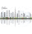Dubai City skyline with Gray Skyscrapers vector image