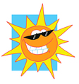 Sun Cartoon Character With Sunglasses vector image