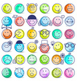 Colorful Faces Set Icons Isolated on White vector image vector image