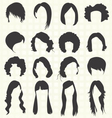 Womans Hair Styles Silhouettes vector image vector image