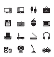 Silhouette Computer equipment and periphery icons vector image vector image