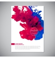 Business template with pink and blue ink in water vector image vector image