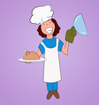 Cook holds on a platter fried chicken vector image