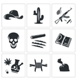 Mexican cartel Icons Set vector image vector image