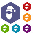 cap with pompon of santa claus and beard icons set vector image