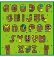 Chocolate artistic font Funny brown symbols vector image